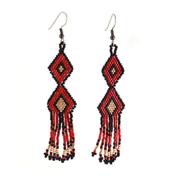 Beaded Geometric Red Black and Gold Earrings