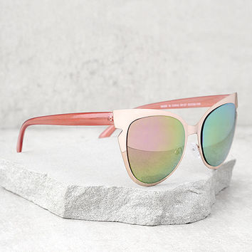 Buns Rose Gold Mirrored Cat-Eye Sunglasses
