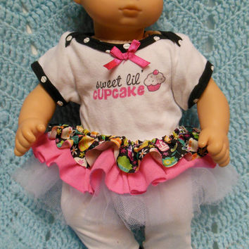"AMERICAN GIRL Bitty Baby Clothes ""Sweet Lil' Cupcake"" (15 inch) doll outfit  dress, leggings, booties/ socks, and headband"
