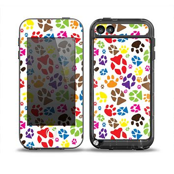 The Colorful Scattered Paw Prints Skin for the iPod Touch 5th Generation frē LifeProof Case