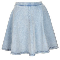 Acid Denim Look Skater Skirt