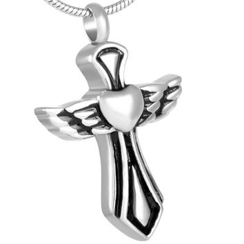 "Cremation ""Winged Heart Cross"" Pendant Urn Necklace"