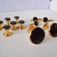 Men's Goldtone & Black Cufflinks + 9 Matching Shirt Buttons