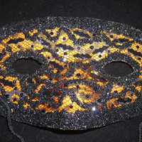 Orange and Black Lace Mask, Handmade Bat Confetti and Glitter Mask, Halloween Masquerade Mask, Lace Mask, Free US Shipping