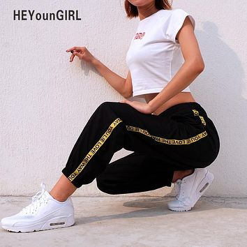 HEYounGIRL Casual Baggy Black Pants  Women's Sweatpants And Joggers Patchwork Striped Sweat Pants Print High Waist Trousers