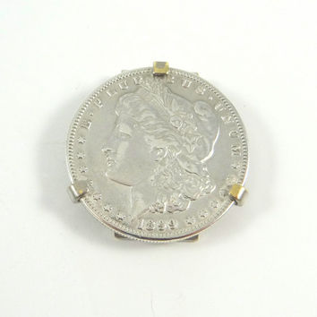 Vintage Swank 1889 Morgan Silver Dollar Money Clip from the 1960s