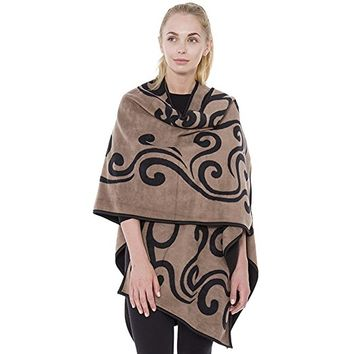 Camel Fleece Reversible Ruana Cardigan Poncho