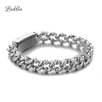 Buddha Bracelet Curb Cuban Chain Silver Color Bracelets for Men Women Free Shipping Factory Offer Good Quality