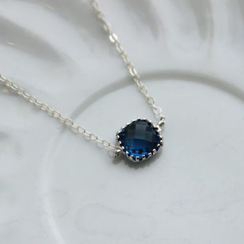 Dainty Sapphire Blue Necklace - Sterling Silver Chain - Charm Necklace Navy Blue Bridesmaid Necklace - Blue Wedding Jewelry - Something Blue