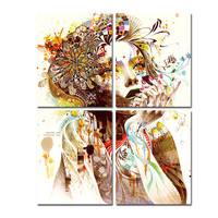 Colorful Girl Canvas Paintings For Room Wall Modern Paintings Ready to Hang Tableau Peinture Sur Toile With Frame Popular Gift