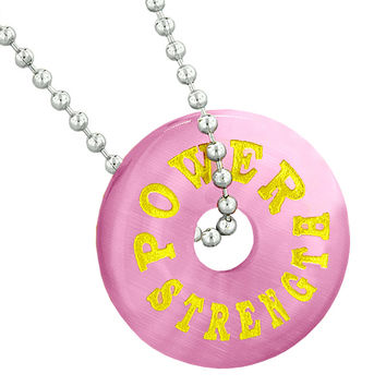 Inspirational Power Strength Amulet Lucky Donut Charm Pink Simulated Cats Eye Pendant 22 Inch Necklace