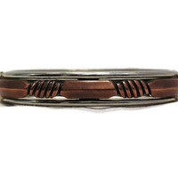 Industrial Copper and Silver Tone Clamper Bracelet, Unisex
