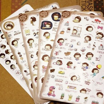 Borges South Korea stationery super cute girl girl cookies kawaii stickers PVC transparent stickers stickers