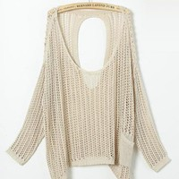 Beige Hollow Out Bat Sleeve Sweater - Designer Shoes|Bqueenshoes.com