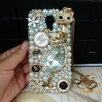 3D Bling Gold Cute CAT Flower Diamond Case Cover For Samsung Galaxy S4 IV i9500