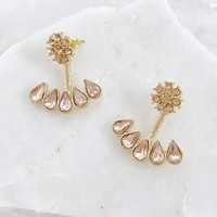 Crystal Cove Gold Earrings in Pink