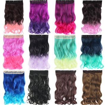 """MapofBeauty 20"""" Long Curly Hair Extensions Synthetic Hair Clip in one piece On Blue Pink Omber natural Women 5 Clips Hairpieces"""