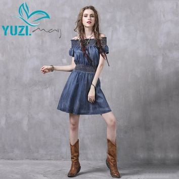 Summer Dress New Denim Slash Neck Elastic Waist A-Line Women Dresses