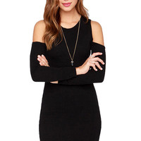 Black Off-The-Shoulder Sweater Dress