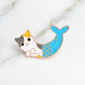 Blue Cat Fish Fishtail Creative Animal Brooch Lucky Mermaid Badge Enamel Denim Leather Pin Child friend Cartoon Fashion Gift