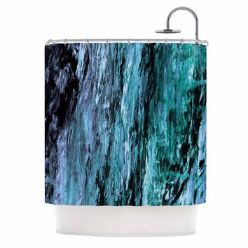 "Ebi Emporium ""RAINBOW BARK 5"" Teal Blue Abstract Coastal Painting Mixed Media Shower Curtain"