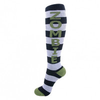 Zombie Black & White Stripe Knee High Socks