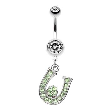 Jeweled Four Leaf Clover on Horseshoe Belly Button Ring