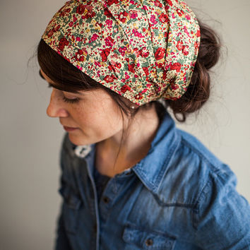 Claire Aude Red Liberty of London Collection Garlands of Grace headcovering headband headwrap