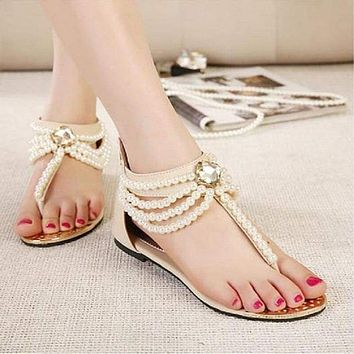 New pearl chain beads rhinestone sandals flat shoes flip flops fashion sexy women's sandals shoes ePacket free shipping Macchar Cosplay Catalogue