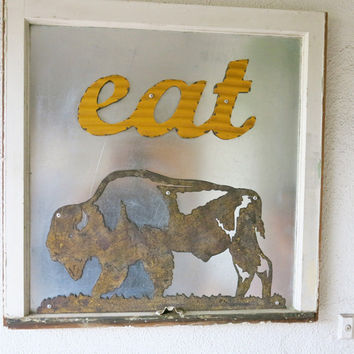 EAT sign vintage window frame buffalo art unique wall decor dining kitchen decor restaurant decor bison art rustic distressed decor