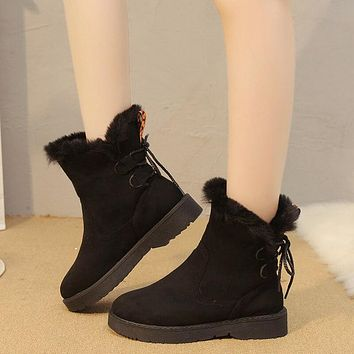 Lace Up Ankle Fur Warm Boots