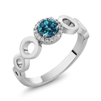 0.72 Ct Round London Blue Topaz 925 Sterling Silver Ring