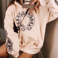 ONETOW Chrome Hearts' Women Casual Personality Lips Horseshoe Letter Print Loose Long Sleeve Hooded Sweater Tops