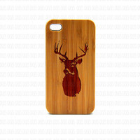 Real Wood iPhone 4s Case, Deer head  iPhone 4s Case, eyes iPhone 4s Case, Wood iPhone Case,