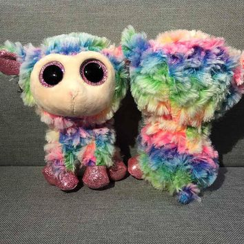 "Ty Beanie Boos 6"" 15cm Colorful Sheep Rabbit Fox Cat Fish Sloth Unicorn Owl Dog Plush Stuffed Animal Big Eyes Doll toy for kid"