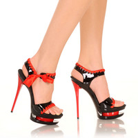 "5""1/2Micro Stiletto With Satin Ribbon Detail And Bow-Black/Red Combo-DIAMOND-5""1"