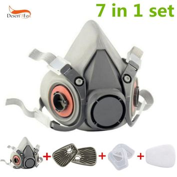 7 Pcs in 1 Set half Face Mask For 6200 Gas Painting Spray Protection Respirator