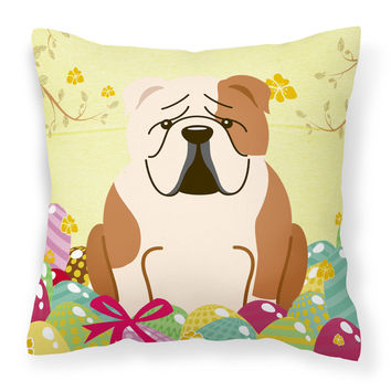 Easter Eggs English Bulldog Fawn White Fabric Decorative Pillow BB6125PW1818