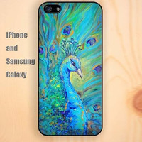 watercolor peacock iphone 6 6 plus iPhone 5 5S 5C case Samsung S3, S4,S5 case, Ipod touch Silicone Rubber Case Phone cover Waterproof