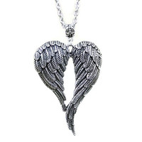 Antique Silver Angel Wing Necklace, Angelic Necklace, Valkyrie Wings, Protection Necklace, Boho Necklace, Hippie Necklace, Norse Jewelry