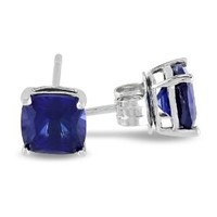 Sterling Silver and Created Blue Sapphire Stud Earrings