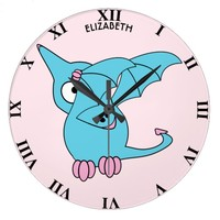 Cute Dabbing Flying Funny Pterodactyl Dinosaur Large Clock