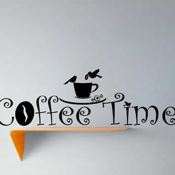 Wall Vinyl Decal Sticker Coffee Time with Birds Cafe Kitchen Art Design Room Nice Picture Decor Hall Wall NA88
