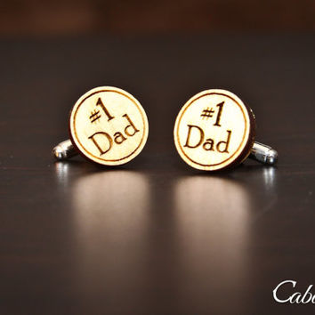 Number 1 Dad Wood Engraved Cufflinks: Gift for Him, Gift for Dad, Groomsmen, Bachelors, Bridesmaid, Fathers Day