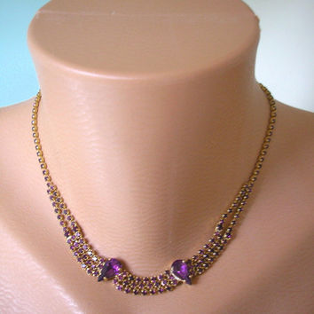 Great Gatsby Jewelry, Art Deco Jewelry, Downton Abbey Jewelry, Wedding Jewelry, Purple Necklace, Amethyst Necklace, Rhinestone Choker
