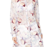 Ella Printed Long Chiffon Blouse