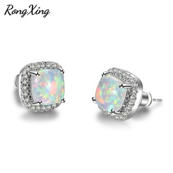 RongXing Stylish White Fire Opal Square Stud Earrings For Women 925 Sterling Silver Filled CZ Crystal Birthstone Jewelry Ear0663