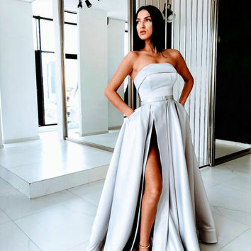 Sexy Slit A Line Prom Dresses 2019 Satin Evening Dress Silver Long Prom Dress Formal Gowns H9820