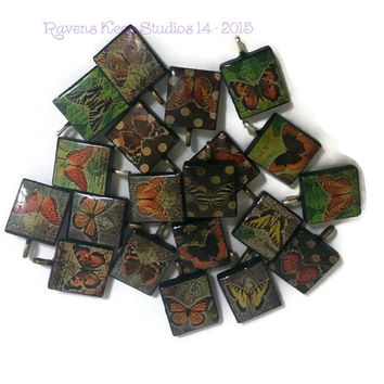 CLEARANCE! Assorted Butterfly Pendant, Scrabble Tile Pendants, Scrabble Tile Jewelry, Scrabble Charms, Butterfly, Polka Dot