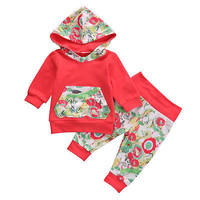 2016 Autumn style infant clothes baby Girls clothing sets Floral Toddler Baby Girls Suit Hooded Tops +Pants Outfits Set Clothes